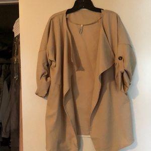 Apricot Long Sleeve Pockets Trench Coat